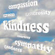 Kindness Words in Sky Compassionate Generous Background — Stockfoto