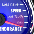 Stock Photo: Lies Have Speed Truth Has Endurance Speedometer
