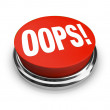 Oops Word on Big Red Button Correct Mistake — Stock Photo
