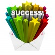 Stock Photo: Success Word Stars Bursting from Envelope Winner Result