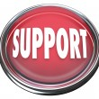 Support Red Round Button Get Help Answers to Questions - Foto Stock