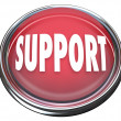 Support Red Round Button Get Help Answers to Questions - 图库照片
