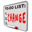 To-Do List Change Word Dry Erase Board Improve — Stock Photo