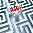 What Now Confused Person Holding Sign Lost in Maze — Stock Photo #11469794