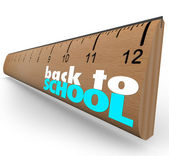 Back to School Words on Wooden Ruler Measurement — Stock Photo