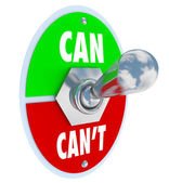 Can or Can't Toggle Switch Committed to Solution Attitude — Zdjęcie stockowe