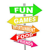 Fun Entertainment Activity Signs Pointing Directions — Stock Photo