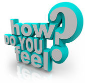 How Do You Feel Question 3d Words — Stok fotoğraf