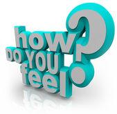 Jak się czujesz 3d słowa pytanie — Zdjęcie stockowe