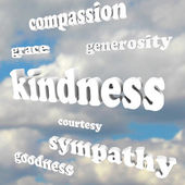 Kindness Words in Sky Compassionate Generous Background — Foto Stock