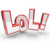 Lol skrót śmiać się głośno śmieszne wypowiedzi — Zdjęcie stockowe