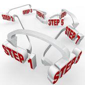 Nombreuses étapes comment-instructions connecté diagramme de mots — Photo