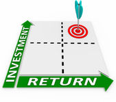 Maximize Return on Your Investment Arrow Matrix — Stock Photo