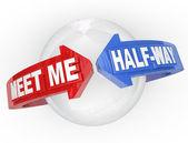 Meet Me Half-Way Arrows Compromise Settlement — Stock Photo