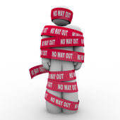 No Way Out Man Wrapped Up in Red Tape Hopeless — Stock Photo