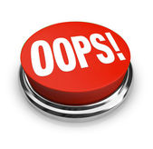Oeps woord op grote rode knop juiste fout — Stockfoto