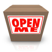 Open Me Label on Cardboard Box Mystery Present Package — Stock Photo