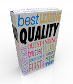 Quality Word on Product Box Top Best Choice — Stock Photo