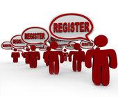 Register Talking Speech Bubbles Join Club Registration — Stock Photo