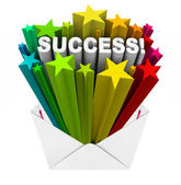 Success Word Stars Bursting from Envelope Winner Result — Stock Photo