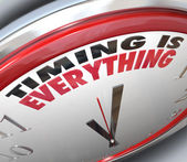 Timing is Everything Words on Clock Punctual Speed — Stock Photo