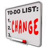 To-do список изменений слово сухого стирания совета улучшить — Стоковое фото