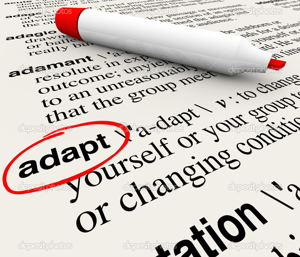 The word Adapt defined in a dictionary providing definition of change, adaptation and altering to survive and thrive — Stock Photo #11469674