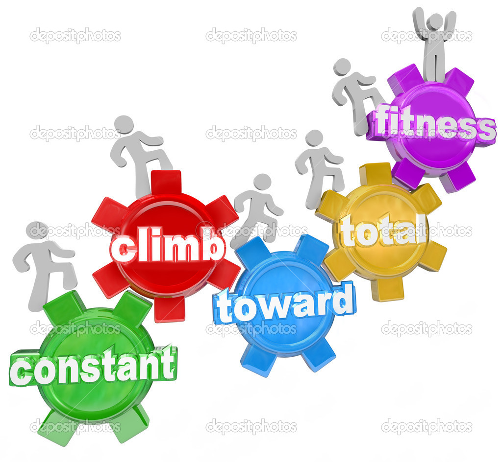 Several walking on gears with words spelling the phrase Constant Climb Toward Total Fitness, symbolizing the importance of exercise, diet and weight loss to get fit and healthy for wellness — Stock Photo #11469696