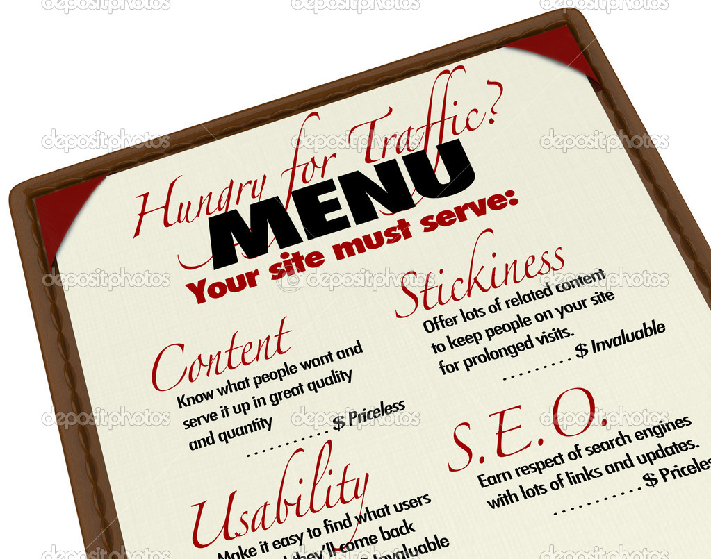 A menu with instructions and guidance for growing your web traffic and improving your search engine reputation and ranking, with content, usability, s.e.o., and stickiness  Stock Photo #11469749