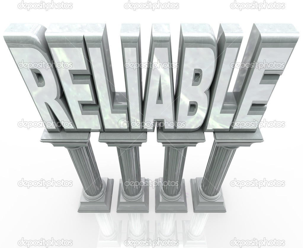The word Reliable on marble columns or pillars representing dependability, durability, strength and fortitude - someone or a group you can rely on to help you succeeed or get a job done — Stock Photo #11469778