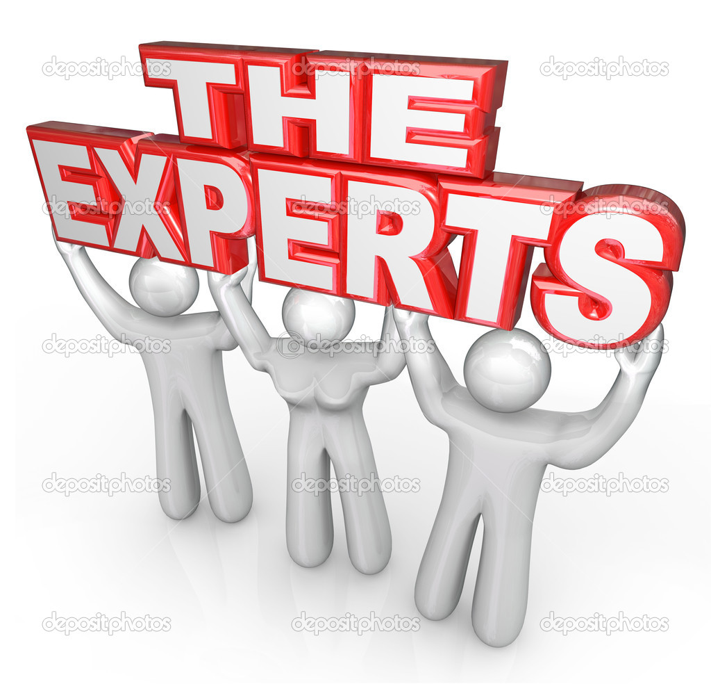 The words The Experts lifted by three who are mentors, teachers, instructors, problem solvers, professionals or leaders who are skilled at fixing issues and solving your dilemma — Stock Photo #11469782