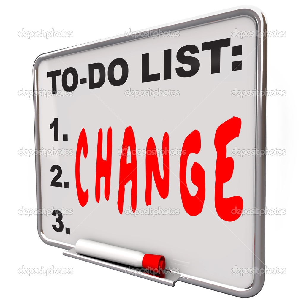 The word Change written under words To Do List on a Dry Erase Board telling you to adapt and improve to succeed in business or life  Stock Photo #11469788