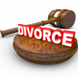 Divorce Word Gavel Attorney Justice Settlement — Stock Photo