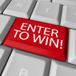 Enter to Win Contest Drawing Raffle Lottery Computer Key — Stock Photo