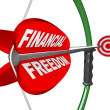 Financial Freedom Independence Bow Arrow Target Goal - Stock Photo