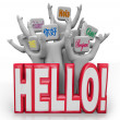 图库照片: Hello Greeting in Different International Languages