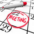 Meeting Word Circled on Calendar Red Marker - Stock Photo