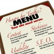 Menu Hungry for Web Traffic Grow Online SEO Ranking — Stock Photo