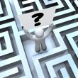 Person Holding Question Mark Sign Lost in Maze Labyrinth — Stock Photo #11836113