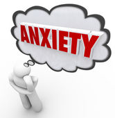 Anxiety Word Thought Bubble Cloud Thinking Man Worrying — Stock Photo