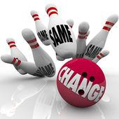 Wijzigen van de bowling bal staking schudden van voor de aanpassing van — Stockfoto