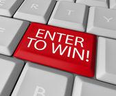 输入要赢比赛绘图抽奖彩票计算机密钥 — 图库照片