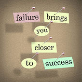 Failure Brings You Closer to Success Bulletin Board Saying — 图库照片