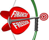 Financial Freedom Independence Bow Arrow Target Goal — Stock Photo