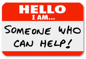 Hello I Am Someone Who Can Help Nametag Words — Stok fotoğraf