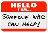 こんにちは私は誰かの名札の単語を助けることができます。 — ストック写真