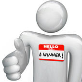 Hello I Am a Winner Nametag Person Greeting Handshake — Stock Photo