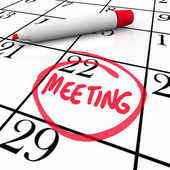 Meeting Word Circled on Calendar Red Marker — Stock Photo