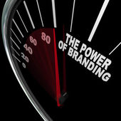 The Power of Branding Speedometer Measuring Loyalty — Stock Photo