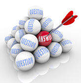 Questions and Answer Pyramid Arrow Target Word on Ball — Stock Photo